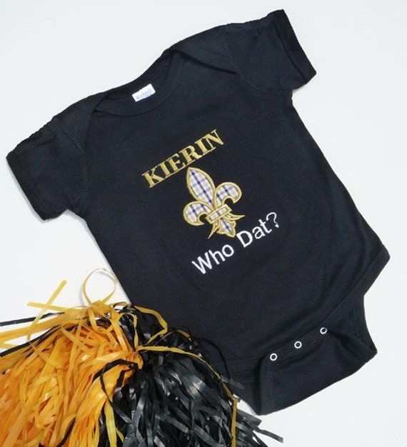 New Orleans Saints Baby esie Personalized with Shoulder Bows