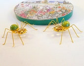 Marble Spiders Handmade Yellow and Green Two