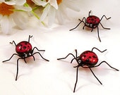 Three Small Handmade Lady Bugs Cherry Red Ornament or Screeen Bug