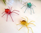 Three Itsy Bitsy Loveable Very Small Spiders in Vibrant Red, Yellow and Aqua Gift for Entomologists and Bug Lovers Delightful Little Insects