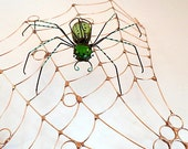 Handmade Copper Spider Web and Green Spider Bubbles
