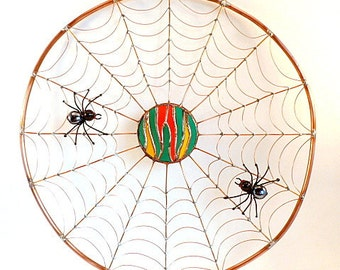 Round Spider Web Handmade Copper Wire Art The Rising Sun Perfect Gift for Entomologists and Bug Lovers