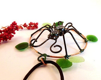 SALE Handmade Round Black Spider Pendant With Leaves Perfect Gift for Bug Lovers