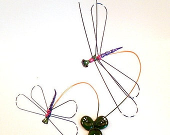 Two Colorful Wire Art Dragonflies House Warming Gift A Perfect Gift for Bug and Nature Lovers Unique Accent for the Home Insect Wire Art