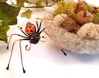 Large Orange and Black Wire Spider Halloween Decor Unique Collectible Insect Ornament Wall Hanging Sun Catcher Gift of Nature Mascot or Pet