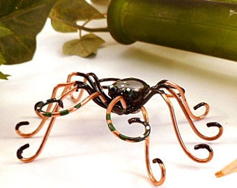 Handmade Black Spider and Web Perfect Gift for Entomologiets and Bug Lovers Unique Birthday Gift for Nature Lover Gardener Wire Art Bug