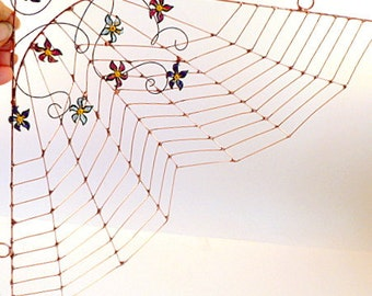 Flower Garden Spider Web Wire Art Perfect for Kitchen Windows or Wall Hanging, Spring Decor, Easter Gift, Mother's Day Gift OOAK Large Web