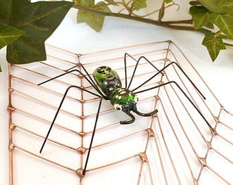 Spider Web and Long Green Spider Wire Art, Unique Fantasy Spider and Geometric Web, Anniversary Gift, Home Decor Kitchen and Diningroom