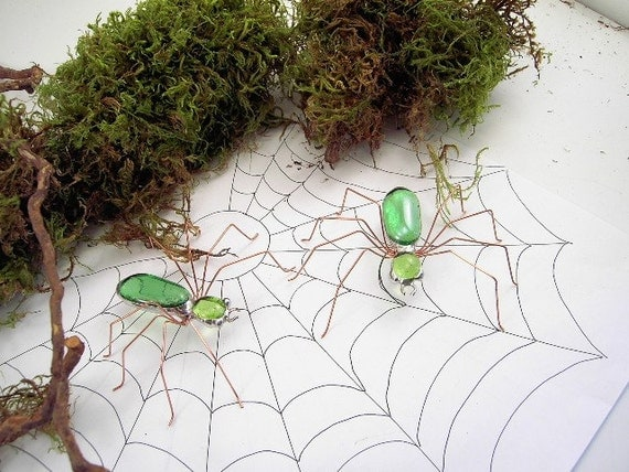 Handmade Green Spiders Two