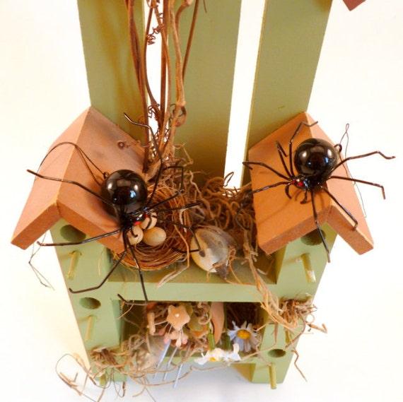 Black Widow Spiders Two Hanging Handmade