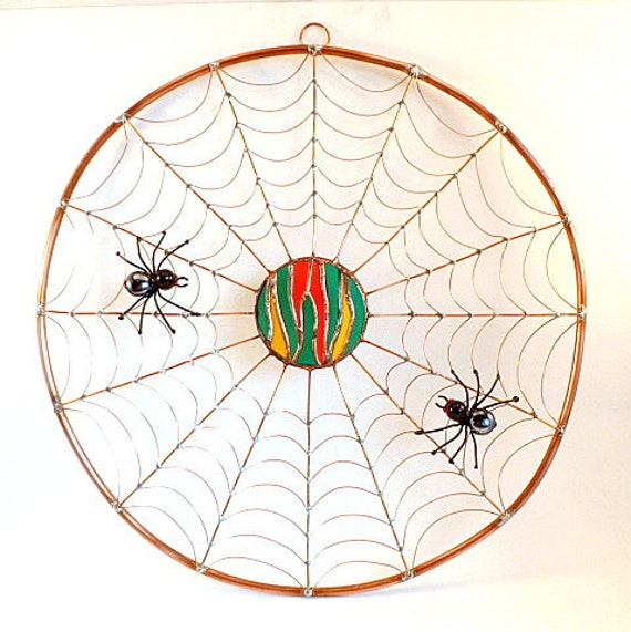 Large Round Wire Art Spider Web Wall Hanging Sun Catcher Unique Custom Home Decoration One of a Kind Wire Structure Gift for Bug Lover