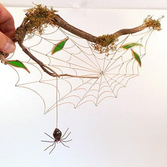 Handmade Driftwood Spider Web With Hanging Black Spider