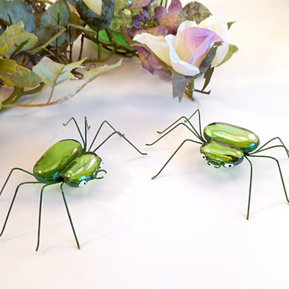 Fat Green Spiders Handmade Two