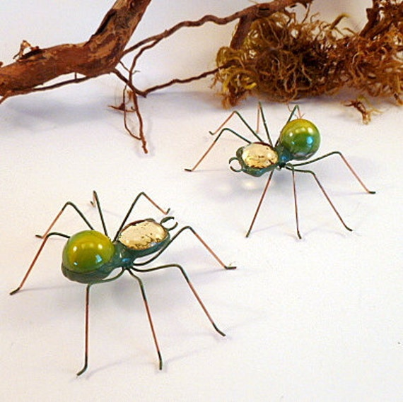 Two Small Green Wire Spiders  Pet Spider Unique for Gift Giving Special Occasions, Birthdays Thankyou Unique Gift For Him Science Class