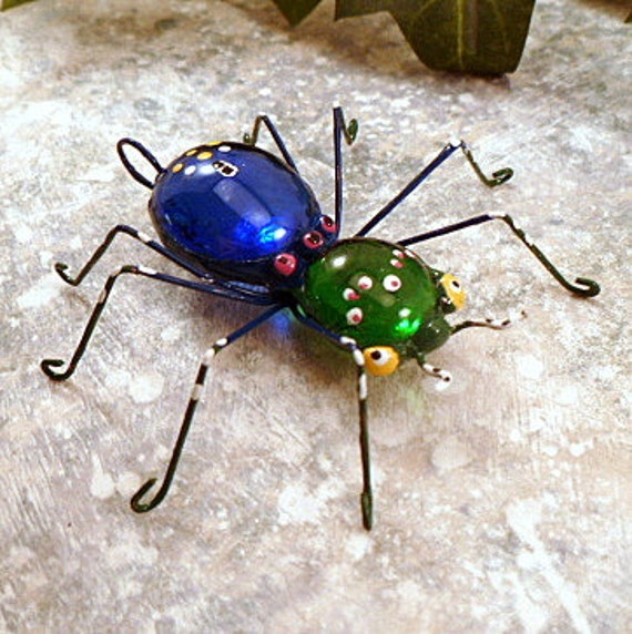 Handmade Small Blue and Green Spider Perfect Gift for Entomologists and Bug Lovers
