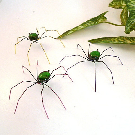 Three Large Hanging Handmade Spiders in Many Colors