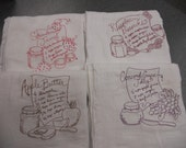 Vintage Inspired Embroidered Flour Sack Kitchen Tea Towel Set of 4