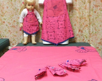 Cow Girl Child Sized Tablecloth and Apron Set