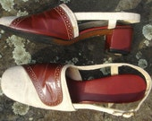60s or 70s sandals - high heels - leather and canvas - chunky heel - ankle strap