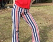 RESERVED 70s flared jeans - red white and blue striped - mod - xsmall - SALE