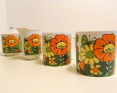 ON HOLD 60s tea set - 2 mugs creamer and sugar bowl - vibrant garden scene with flowers and butterflies and ladybugs