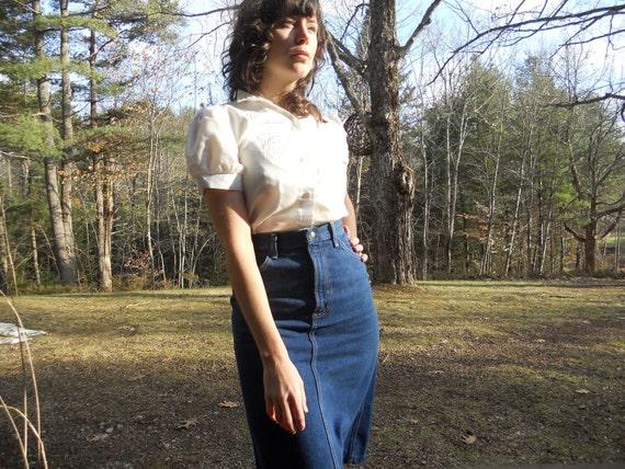 70s jean skirt - pencil skirt - country western - MAVERICK - size 7