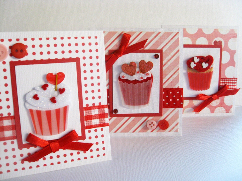 Small Valentines Day Handmade Cards Sweet Cupcakes Set – Valentines Day Handmade Card