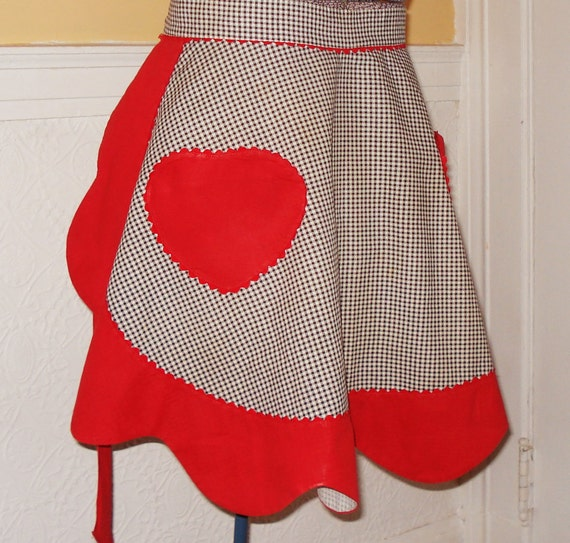 50's Red & Gingham Heart Apron