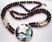 Vintage Multistrand Flower Pendant Necklace Lucite Mother of Pearl Shell Abalone