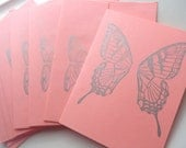 Handmade Hand Printed Set 8 Greeting Cards Envelopes Pink Silver Butterfly Moth Wings A2