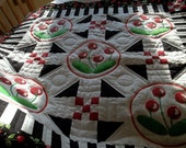 Quilts,Summer and Spring quilt,Cherries quilt,Quilted Wall Hanging,Lap quilt