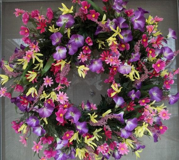 WAS 60.00 NOW 50.00,Door wreath,front door wreath,spring wreath,Mothers day wreath,wreath,wall decor,outdoor wreath,morning glory