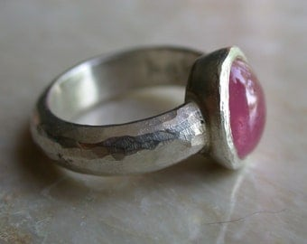 Silver Ring, Pink Sapphire, Engagement Ring