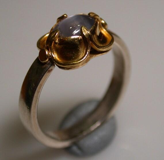 Elizabethan Ring, sapphire, 22k gold, sterling silver