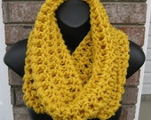 Cowl in YELLOW GOLD - Handmade Circle cozy warmer wrap in any color - Crocheted Scarves