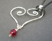 Silver Dappled Heart / Red Crystal Necklace SHN201