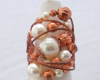 Copper Wire & Cream Crystal Pearl Ring CR115