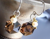 Melange Earrings - Smoky Quartz &  Pearl