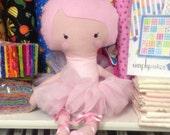 "Bella. 20"" Light Pink Fabric Ballerina Doll by justforfunbyjodi"