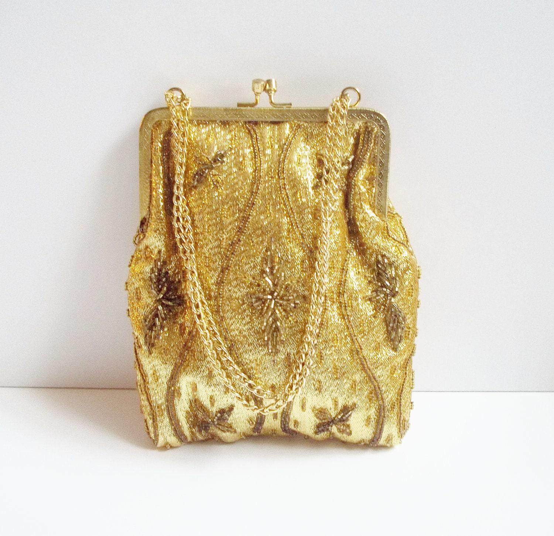 vintage 1960s gold beaded bridal evening bag by vintagearmcandy