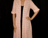 Vintage 1950s 60s Pink Sheer Lace Duster XS S