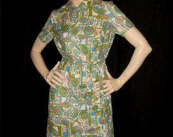 Vintage 1960s Day Dress / 60s Floral Print Shirtwaist Dress Peter Pan Collar - S M