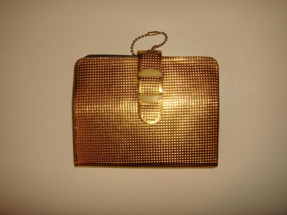 Vintage 1950s 60s Gold Embossed Vinyl Wallet