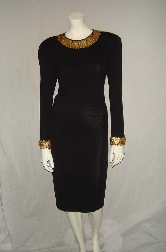 Vintage 80s Black Wool Knit Adrienne Vittadini Dress With Gold