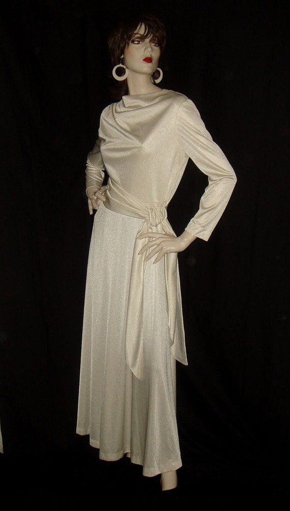 RESERVED Vintage 1970s White Draped Goddess Disco Dress S M