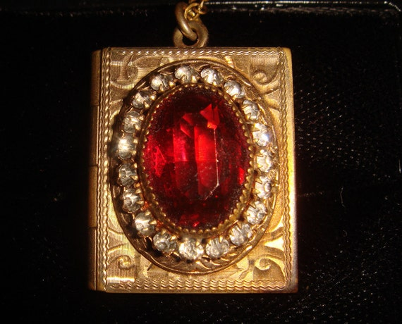 Antique Etched Book Locket and Chain Necklace w/  Red Glass Stone and Rhinestones