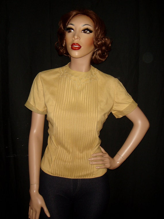 Vintage 50s Gold Nylon Penny Potter Blouse with pintucking, medium