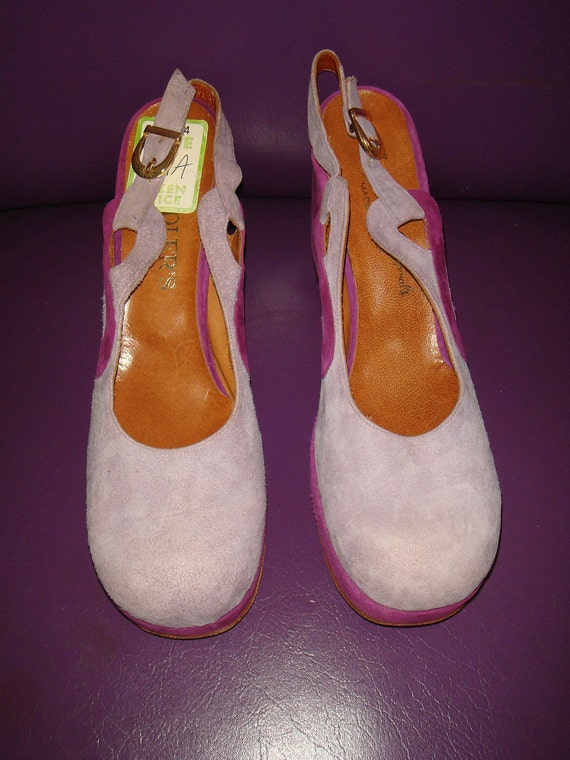 Vintage 70s Purple Suede Platform Shoes / 1970s Two Tone Swirl Leather French Room Originals Slingbacks Size 9 made in Italy