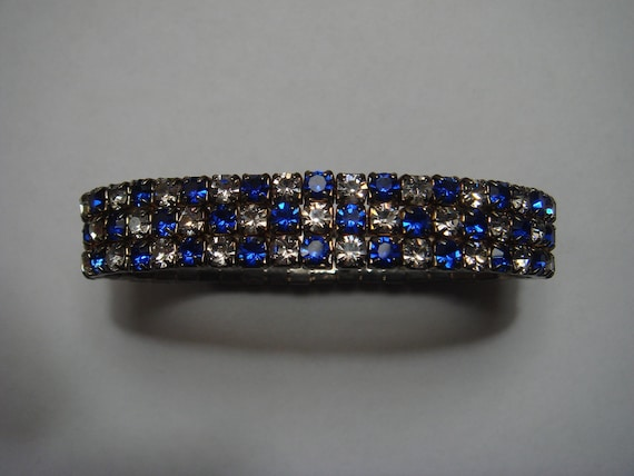Vintage Sapphire Blue and Clear Rhinestone Stretch Bracelet
