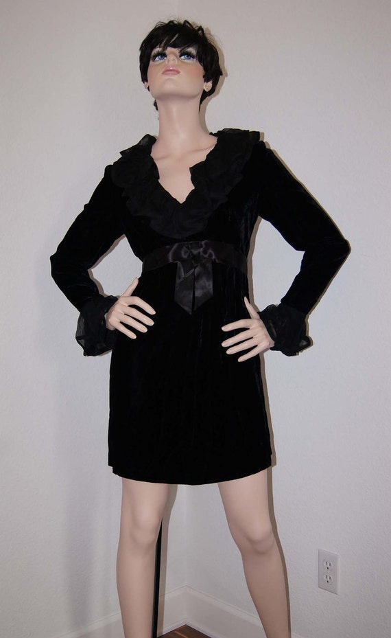 Vintage Futura Couture of New York Black Velvet Mini Dress with Ruffles, s/m